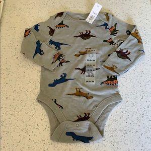 NWT gray dinosaur print long sleeve onesie